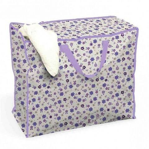 Jumbo 55cm Purple Flowers Clothes Storage Bag